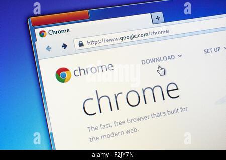 GDANSK, POLOGNE - Le 23 juillet 2015. Google Chrome Page d'accueil sur l'écran d'ordinateur. Google Chrome est un Banque D'Images