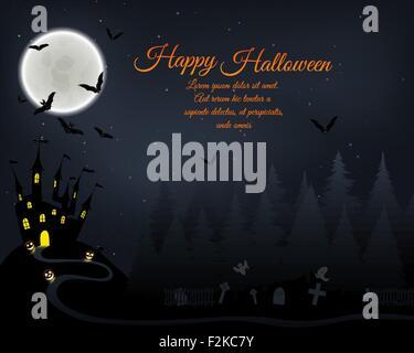 Message d'Halloween Invitation (carte). Design élégant avec un château en forêt de sapins, battant les chauves-souris, Banque D'Images