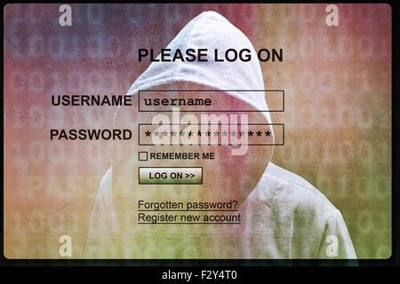 Silhouette pirate informatique de l'homme cagoulé avec écran de connexion internet concept pour la sécurité, l'hameçonnage Banque D'Images