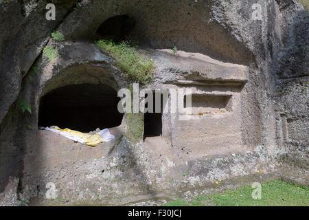 Grotte de moine au temple de Gunung Kawi, Tampaksiring, Bali, Indonésie Banque D'Images