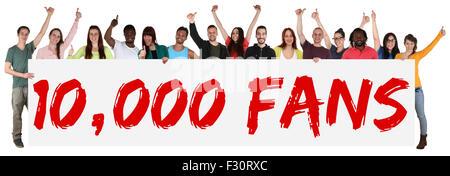 10000 fans likes social networking media sign groupe de jeunes isolés bannière holding Banque D'Images