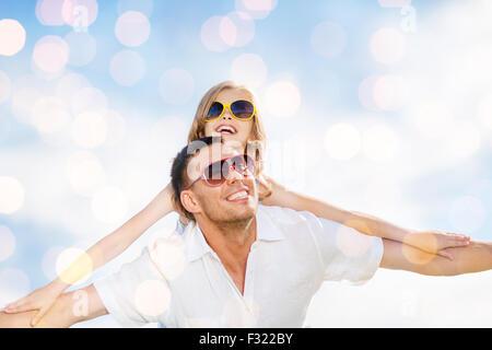 Heureux père et enfant de lunettes Banque D'Images