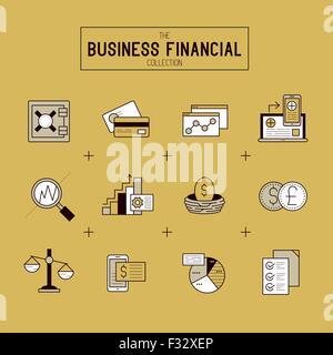 Business Financial Icon Set. Une collection d'icônes financières d'or y compris les outils de marché, des diagrammes Banque D'Images