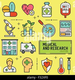 Médecine et Recherche Icon Set. Une collection d'icônes médicale notamment, les équipements, les personnes et les Banque D'Images