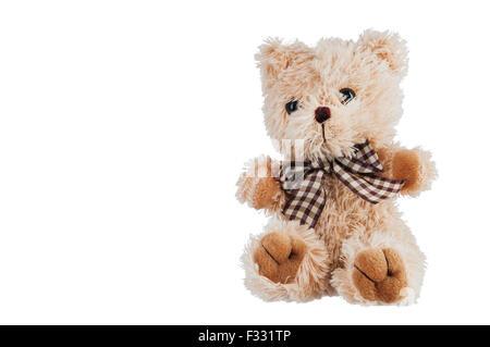 Teddy-bear toy isolé sur un fond blanc. Banque D'Images