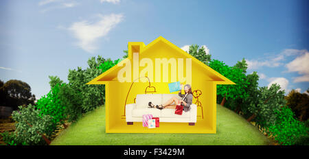Image composite de woman lying on couch with shopping bags