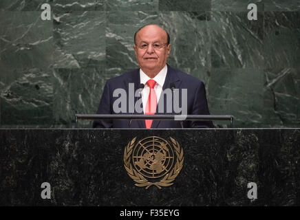 New York, NY, USA 29 Sep, 2015. Le président yéménite Abd-Rabbu Mansour Hadi traite de la 70e session de l'Assemblée générale des Nations Unies au siège des Nations Unies à New York, le 29 septembre, 2015. Photo ONU/Cia Pak/Xinhua/Alamy Live News