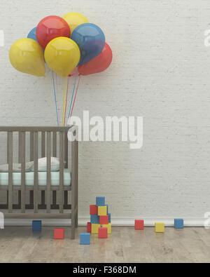 Chambre d'enfant intérieur, l'image de rendu 3D, de ballons de lit Banque D'Images