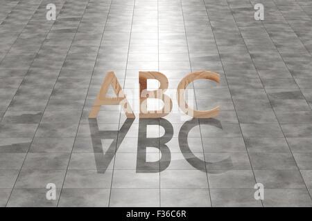 Le rendu 3D d'une des lettres abc en bois sur un plancher de tuiles Banque D'Images
