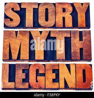 Histoire, mythe, légende mot abstract - storytelling concept - des mots isolés dans la typographie vintage type Banque D'Images