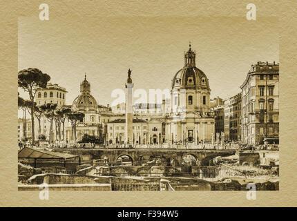 Vue d'Trajans Trajans et Forum colonne, situé dans le centre historique de Rome, Latium, Italie, Europe Banque D'Images