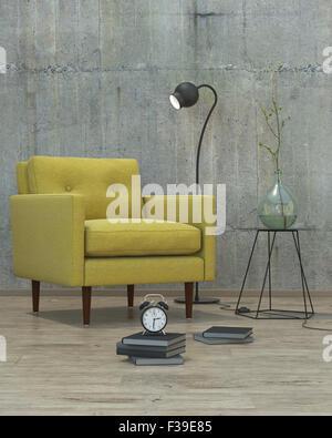 Intérieur moderne avec canapé jaune, 3D'arrière-plan Banque D'Images
