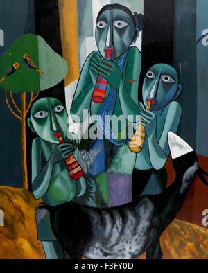 Untitled par la peintre Gopal Sanyal Peinture acrylique sur toile 36 x 45''art contemporain du Bengale en Inde; Banque D'Images