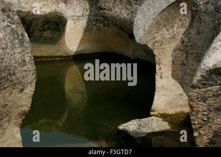 Les formations naturelles résumé en raison de l'érosion sur des pierres , rivière , nighoj ghod , road , MAHARASHTRA Banque D'Images
