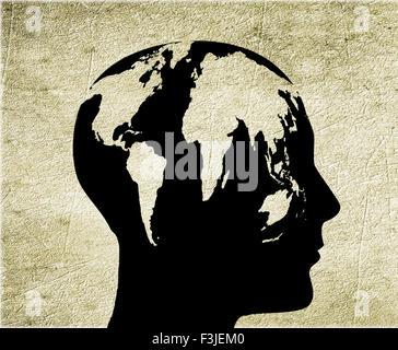 Homme avec tête monde illustration numérique Banque D'Images