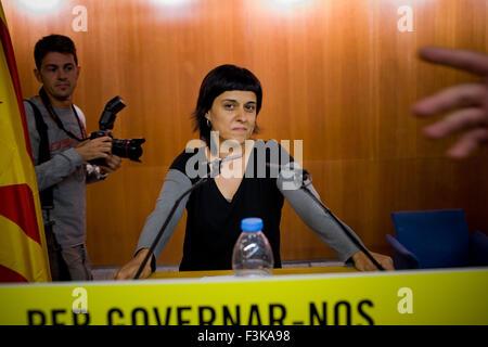 Barcelone, Catalogne, Espagne. 8 octobre, 2015. ANNA GABRIEL de tasse, la gauche pro-parti de l'indépendance, au Banque D'Images