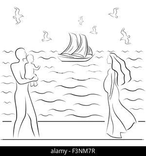 Silhouette Dune Belle Femme Enceinte Sur Un Arrière Plan De