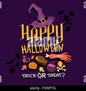 Spooky Halloween party poster design. Joyeux Halloween ! Vector illustration Banque D'Images