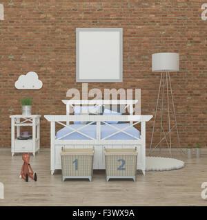 Petite chambre à coucher l'intérieur de l'image de rendu 3D Banque D'Images