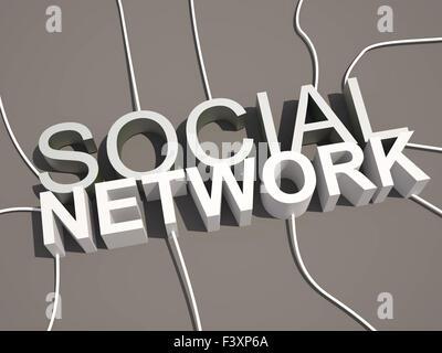 Réseau social 3d concept texte