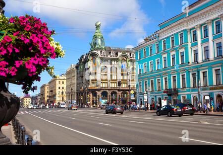 La perspective Nevski de Saint-Pétersbourg, Russie. Banque D'Images