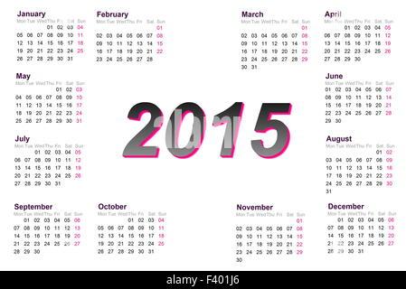 Calendrier de l'année européenne 2015