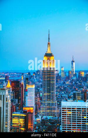 New York Ville paysage urbain dans la nuit Banque D'Images