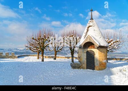 Gruyère, SUISSE - 31 décembre 2014: Château de Gruyères dans la ville de Gruyères, Fribourg, Suisse. Banque D'Images