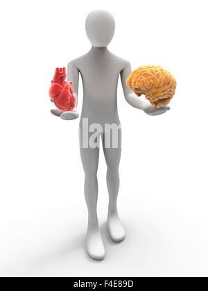 3D human avec coeur et le cerveau Banque D'Images