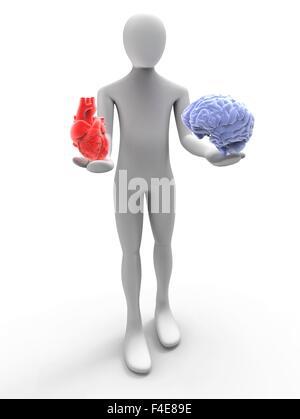 3D man avec coeur et le cerveau Banque D'Images