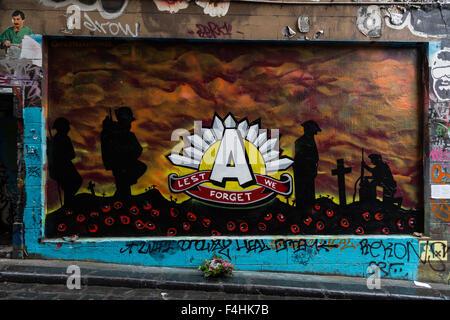 Melbourne, Australie - 25 Avril 2015: Photo d'un graffiti pour l'ANZAC day commémorant les soldats qui se sont battus et sont morts tous