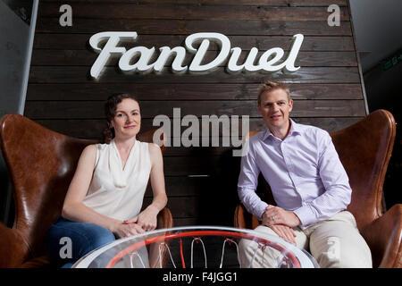 Nigel (à droite) et Lesley Eccles. Co-fondateurs de la plate-forme en ligne fantasy sports, FanDuel. Edimbourg, Banque D'Images