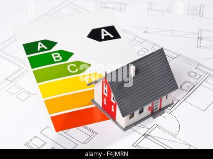 L'efficacité énergétique avec l'étiquette modèle et projet d'architecture Banque D'Images