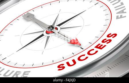 Boussole, l'aiguille dirigée vers le mot succès. Illustration conceptuelle pour la motivation fin. Concept d'image. Banque D'Images