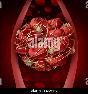 Caillot de sang et de thrombose concept illustration médicale comme un groupe de cellules sanguines humaines regroupés Banque D'Images