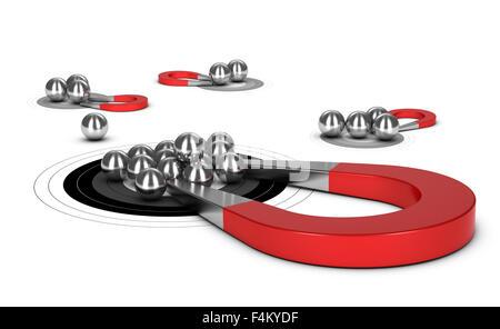 Attirer d'aimant de fer à cheval boules de métal dans une cible, l'image 3D pour l'illustraton de génération de Banque D'Images