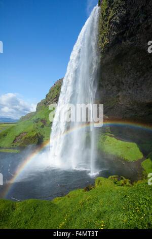 Rainbow sous 60m de haut, la cascade de Seljalandsfoss Sudhurland, Islande. Banque D'Images