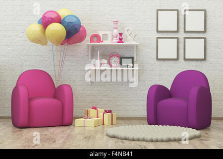 Chambre d'enfant intérieur, l'image de rendu 3d des ballons,pouf Banque D'Images