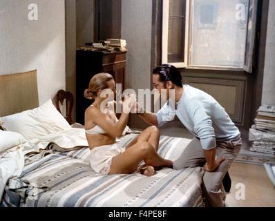 Romy Schneider et Alain Delon / l'Assassinat de Trotsky / 1972 réalisé par Joseph Losey Banque D'Images