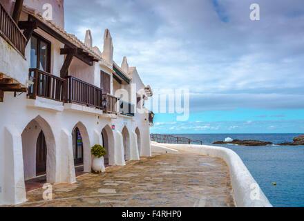 Îles Baléares, Binibeca, village de pêcheurs, l'île de Menorca, Binibeca, vieille, l'Espagne, l'Europe, Printemps, Banque D'Images