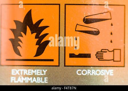 Extrêmement inflammable et corrosif étiquettes d'avertissement sur un produit de nettoyage Banque D'Images