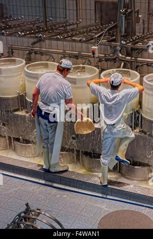 Gruyère, SUISSE - 31 décembre 2014: fromageries au travail pendant le traitement de la légendaire fromage gruyère Banque D'Images