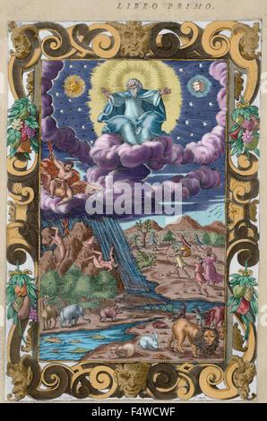 Ovid (publius ovidius naso) (43 av. J.-C.-17 apr.. poète latin Ovide 2-8 ad. livre i gravure illustrant la création., Banque D'Images