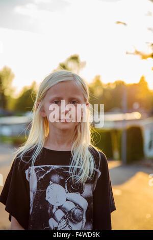 La Suède, Smaland, Bad Saulgau, Portrait de jeune fille blonde (10-11) Banque D'Images