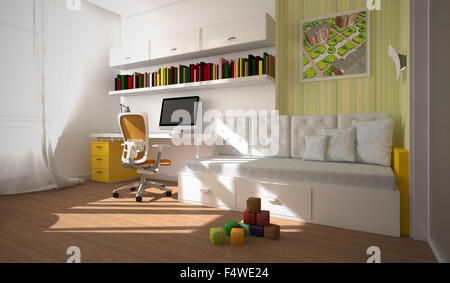 L'intérieur moderne de l'enfant-room 3D Rendering Banque D'Images