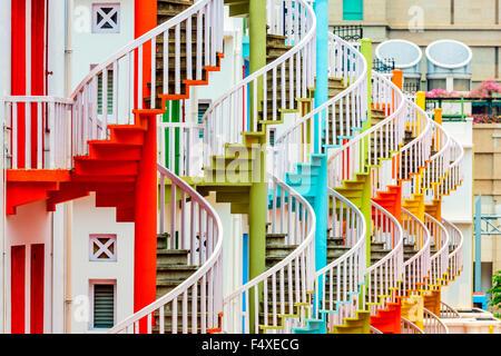 Village Bugis, Singapour spire d'escaliers. Banque D'Images
