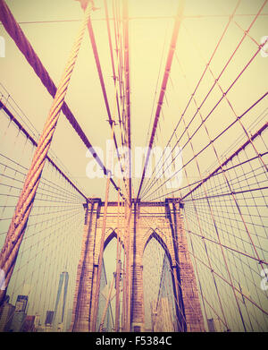 Vintage photo aux couleurs du pont de Brooklyn, New York, USA. Banque D'Images