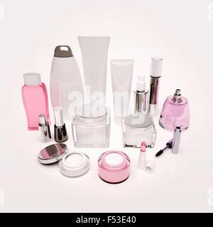 Produits de soin de peau, cheveux, cosmétique décorative sur le livre blanc. Banque D'Images