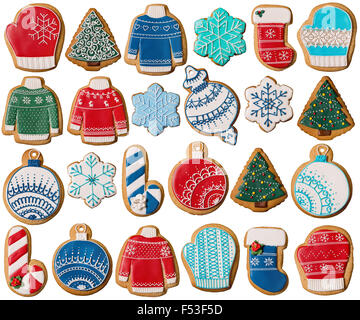 Collection de Noël gingerbread cookies isolated on white Banque D'Images
