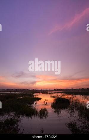 Réservoir d'Huayyang au coucher du soleil en été, Nakhon Ratchasima, Thaïlande Banque D'Images